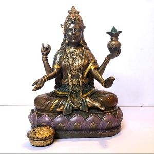 Ebros Hindu Goddess Lakshmi On Lotus Throne Statue